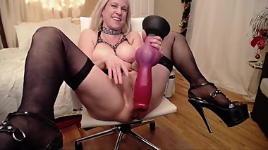 Beautiful MILF Fucks Giant Monster Dildos