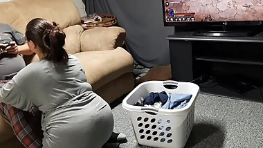 Step mom catches son playing ps4 games and interrupts him with hand job.