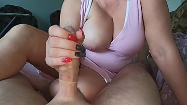 Long nails condom handjob