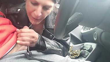 Hot Milf gives public road head in the car Sexy Blow Job BJ sucks a dick