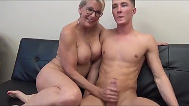 Unreal sexy 70yo mature secretary having fun with 19yo boss