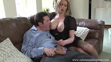 Holly dominating and giving old guy a handjob