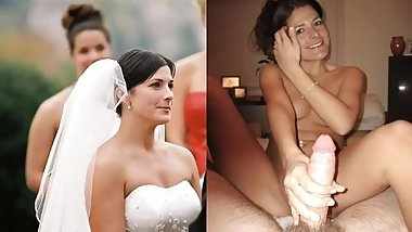 brides wedding dress dressed undressed blowjob cumshot facial cuckold compilation
